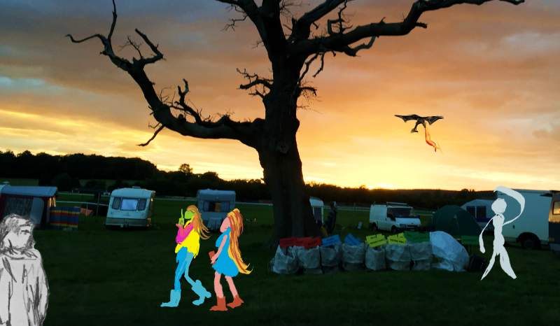 IMG_2134 - Chepstow Sunset - Green Gathering Festival - paint on image #2