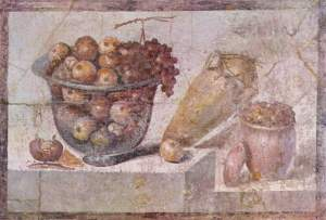 Glass bowl of fruit and vases. Roman wall painting in Pompeii (around 70 AD), Naples National Archaeological Museum, Naples, Italy