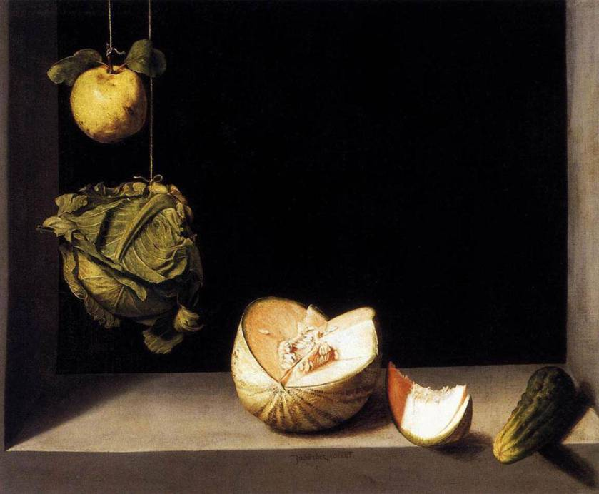 Still Life with Quince, Cabbage, Melon and Cucumber, Sanchez Cotan