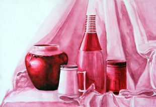 monochromatic 'water colors' from http://ratheearts.blogspot.co.uk/2012/07/still-life-study.html