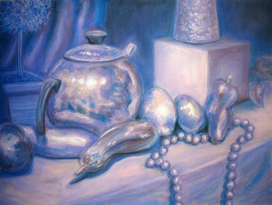 monochromatic still-life in pastel from https://rockinrobin.deviantart.com/art/monochromatic-still-life-in-pastel-297892149