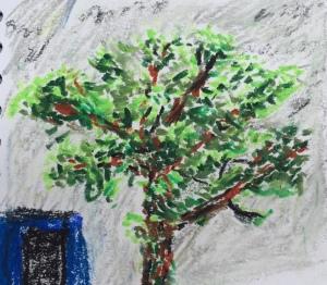 Tree in Oil pastel