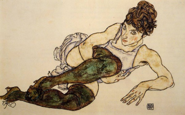 Egon Schiele. Reclining Woman with Green Stockings (1917)
